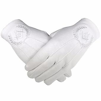 Masonic regalia 100% cotton gloves square compass and g - white 2 x pair
