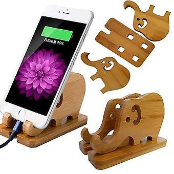 Portable detachable natural bamboo elephant phone holder bracket for smart phone iphone 11 samsung galaxy note 10