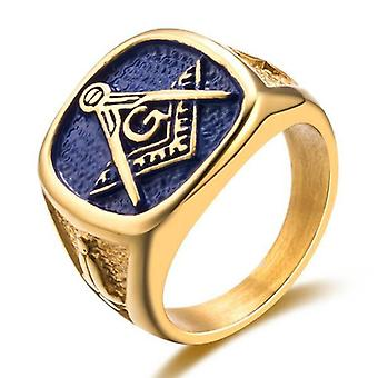 Stainless steel masonic signet-ring