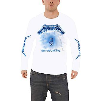 Metallica T Shirt Ride The Lightning Band Logo Official Mens White Long Sleeve