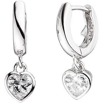 Kids hoops heart 925 sterling silver 2 cubic zirconia earrings, kids earrings