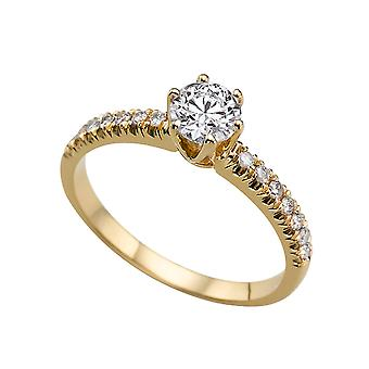 1.14 Carat E SI1 Diamond Engagement Ring 14K Yellow Gold Solitaire w Accents Classic 6 prongs