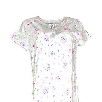 Carole Hochman Women's Pajama Top Floral Cotton Jersey Gray