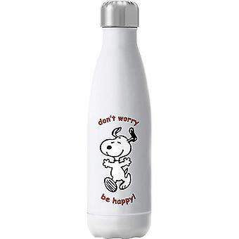 Snoopy Dont Worry Be Happy Insulated Stainless Steel Water Bottle