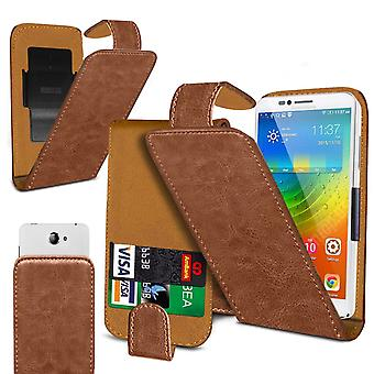 Alcatel 1s Large Brown Clamp Style PU Cuir Flip Phone Case