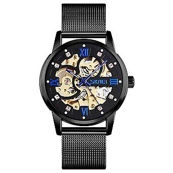 Skmei Mens Black Automatic Movement Skeleton Steampunk Watch Metal Mesh Strap With Crystal Stone Encrusted Hour Markers Collector SK9199