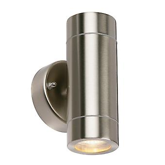 Saxby Iluminación Palin Up & Down IP44 Luz de pared en acero inoxidable cepillado