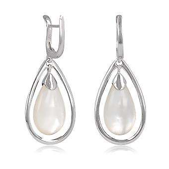 ADEN 925 Sterling Silver White Mother-of-pearl Drope Shape Earrings (id 4432)