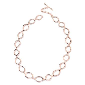 Lucy Q Fluid Design Collar Necklace Rose Gold Plated Sterling Silver Size 20""