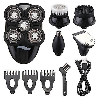 5 In 1 4d Rechargeable Bald Head Electric Shaver Wet&dry Use Waterproof Multipurpose