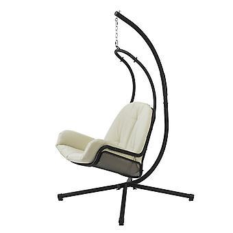 SoBuy OGS52-MI, Chaise pivotante Chaise suspendue Hamac avec coussin beige