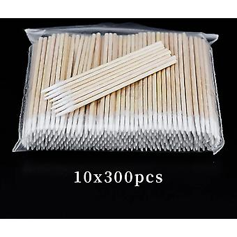 300pcs Short Wood Handle Small Pointed Tip Head Cotton Swab For Eyebrow Tattoo Beauty Nail Seam Dedicated Dirty Picking