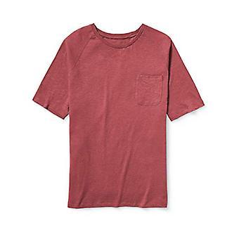 أساسيات الرجال كبيرة وطويلة الأكمام القصيرة لوب رغلان طاقم تي شيرت، -غسلها الأحمر، 4XL