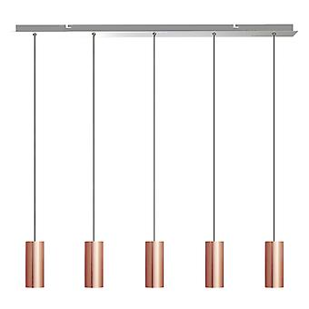 Taurus 5 Light Copper Pendant - Rectangle Canopy