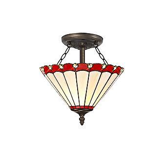 Éclairage Luminosa - 2 Lumière Semi Flush Plafond E27 Avec 30cm Tiffany Shade, Rouge, Cristal, Laiton Antique Vieilli