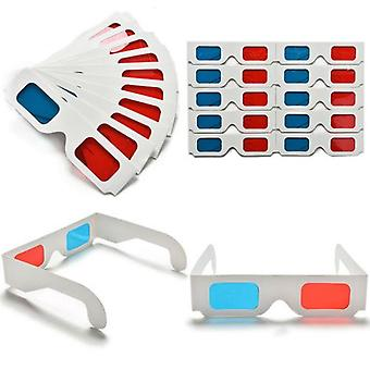 10pcs/lot Universal Anaglyph Cardboard Paper Cyan 3d Glasses For Movie