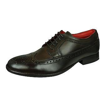 Base London Bailey Hombres Burnished Cuero Brogue / Zapatos - Marrón