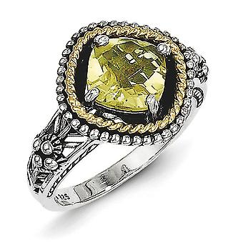925 Sterling Silver Antique finish With 14k 1.90Lemon Quartz Ring  Jewelry Gifts for Women - Ring Size: 6 to 8