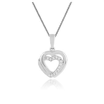 Classic Round Diamond Heart Pendant Necklace in 9ct White Gold  117P0078019