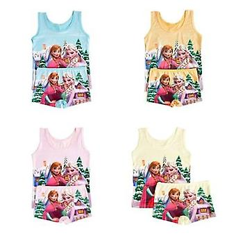 Disney Princess Elsa Frozen Cartoon Pyjamas Set- Barn Väst T-shirt Shorts Flicka Ärmlös Pyjamas Barn Sovkläder