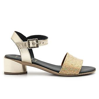 Jemi Gold Leather and Low Heel Fabric Sandals
