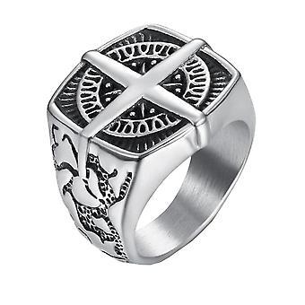 Vekke rose kors ring - sølv grå