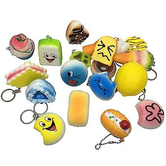Mini Soft Extrusion Bread Keyring Rising Decompression Squishy Toys