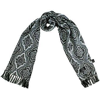 タイズ プラネット トゥータール シルバー、グレー & ブラック ダイヤモンド パターン メン&アポスシルク 薄いスカーフ
