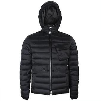 Barbour international men's black ouston hooded quilt jacket