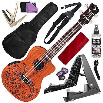 لونا الوشم الصوتية والكهربائية الحفل ukulele مع gigbag وuke أضعاف شقة موقف ديلوكس حزمة