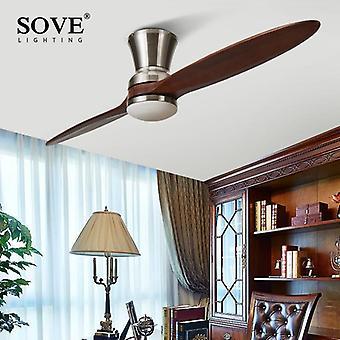 Moderne geleide de industriële houten ventilator van het dorp met ventilators van het Houten Plafond van lichten