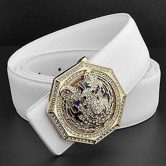 Tiger Golden Buckle, White Grain Retro Belt, Men Genuine Leather Waist Strap