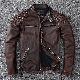 Mens Leather Biker Warm Coat Cowhide Jacket, Slim Leather Clothing