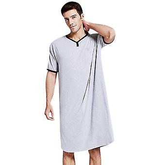 Men Long Nightshirt Short Sleeve Nightwear Night Shirt Soft Comfortable Home