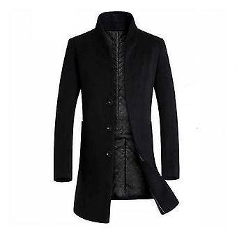 Winter Warm Solid Color Wool Trench Blends Slim Long Coat Men Trench Coat