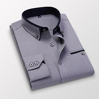 Koszula męska z długim rękawem, slim fit, bez żelazka, casualowe ubrania męskie