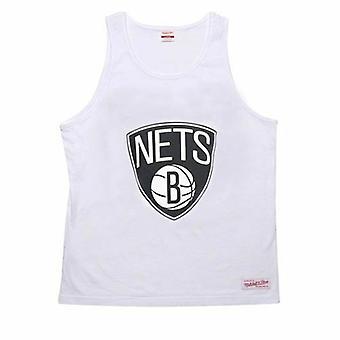 Mitchell & Ness NBA Brooklyn Nets Hihaton Valkoinen Miesten Puuvillasäiliö Top A6D
