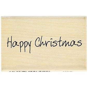 Scribbled Happy Christmas Wood Mounted Rubber Ink Stamp