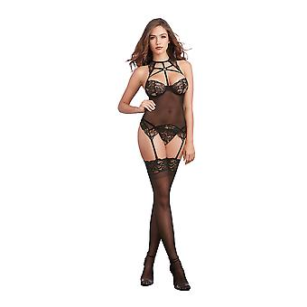 Dreamgirl One Size Black Scalloped Stretch Lace and Mesh Bustier-Styled Strappy Lingerie Set