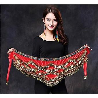 Femmes Belly Dance Belt Skirt Coins Silk Scarf Waist Chain Wrap Crystal Adult