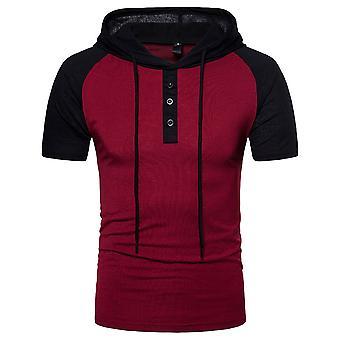 YANGFAN Men's Colorblock Short Sleeve Hooded T-Shirt