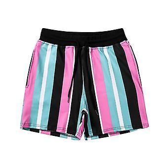 Men Summer Beach Casual Striped Shorts, Athletic Gym Sports Training Swimwear,
