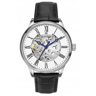 Accurist 7701 Silver & Black Leather Mens Skeleton Watch