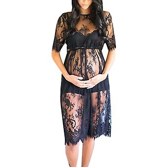 Women Maternity Fashion Sexy Perspective Short Sleeve Lace Photography Dress