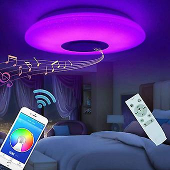 Led Ceiling Light Lamp Flush Mount Round Starlight Music With Bluetooth Speaker