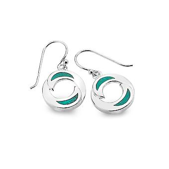 Sterling Silver Earrings - Origins Waves + Turquoise Round