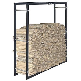 Brennholzregal Schwarz 100x25x100 Cm Stahl