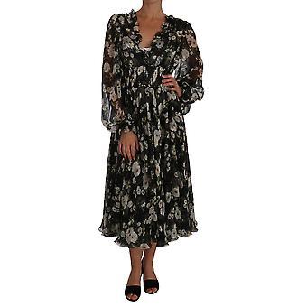 Dolce & Gabbana Zwart Daisy Bloemen Zijde Shift A-Lijn Jurk