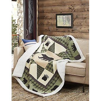 Spura Home Pictorial Bear Star Quilted Contemporary Sherpa Throw