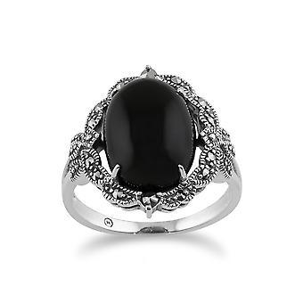 Estilo Art Nouveau Oval Black Onyx Cabochon & Marcasite Statement Ring en 925 Sterling Silver 214R479201925